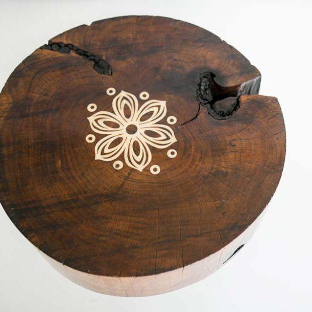 Floral Log End table